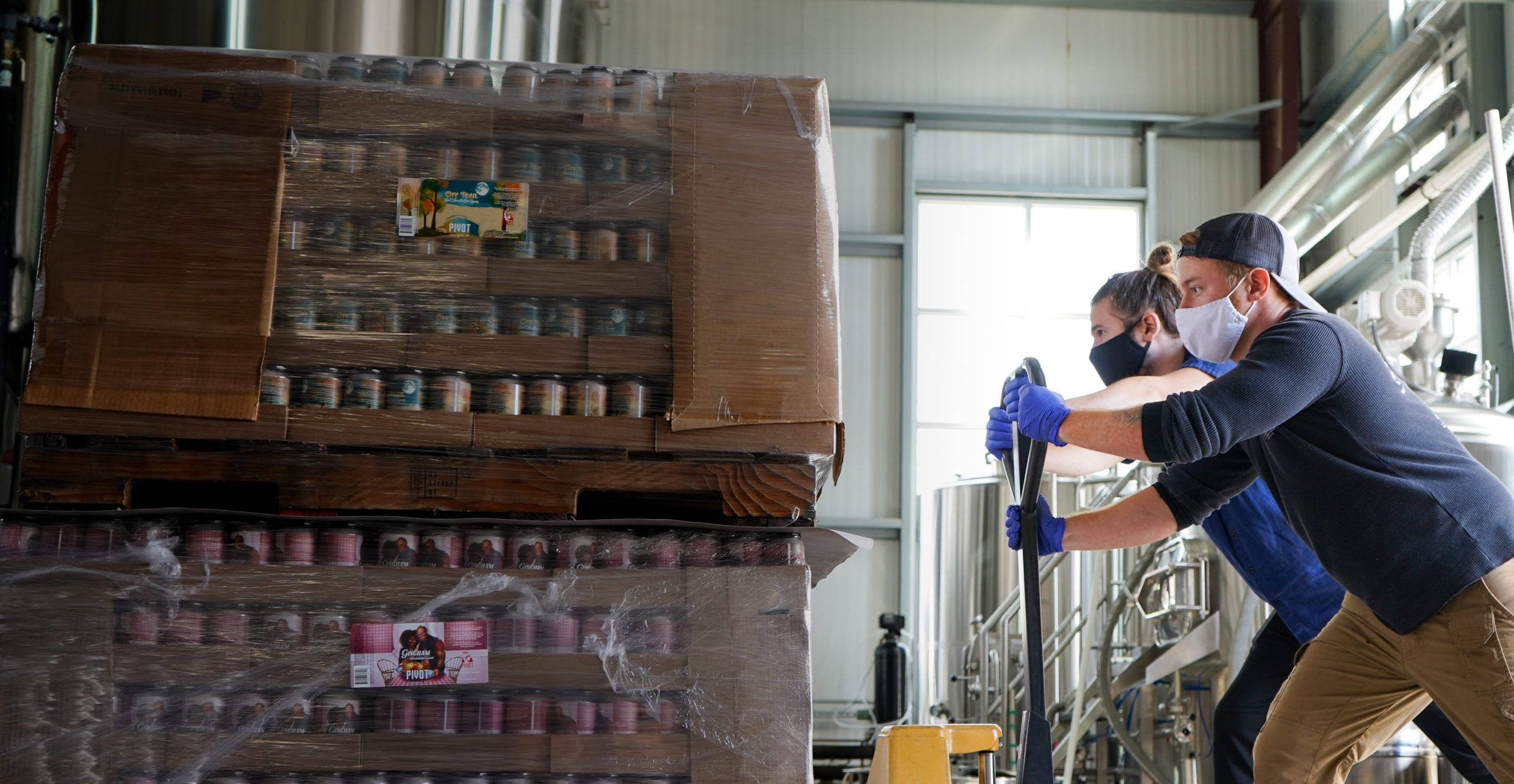 Pivot Brewing Cider shipment to Tavour. Picture showing products moving out of the building.
