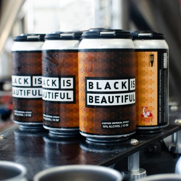 Pivot Black is Beautiful Beer Cans