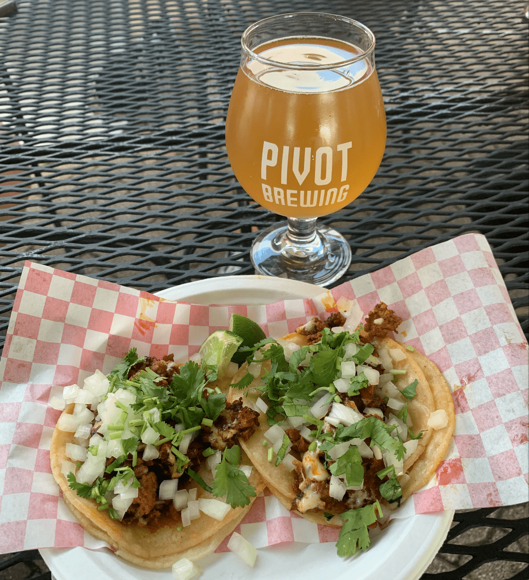 Nathans Taqueria taco with pivot brewing yellow cider