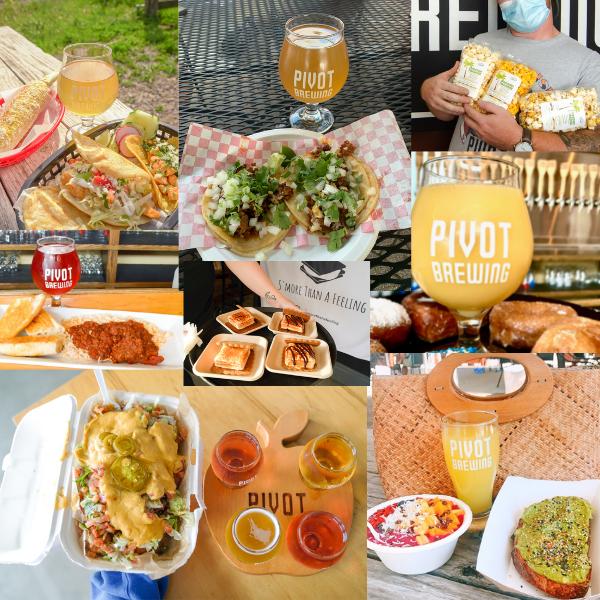 food offerings like nachos smores acai bowls cajun tacos and popcorn at pivot brewing